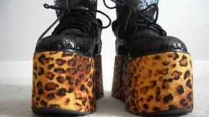 Jeffrey Campbell X Lazy Oaf Leopard Print Glitter Tower Platforms